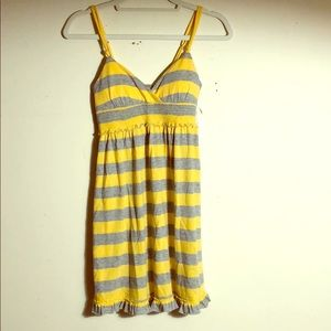 PINK Victoria's Secret yellow gray stripe dress XS
